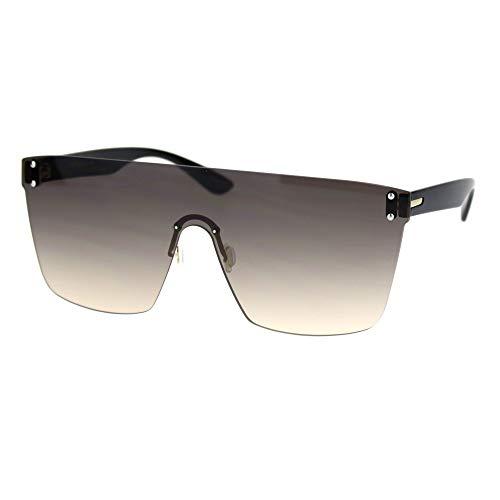 (Womens Oversize Flat Top Shield Rimless Sunglasses Gradient Brown)