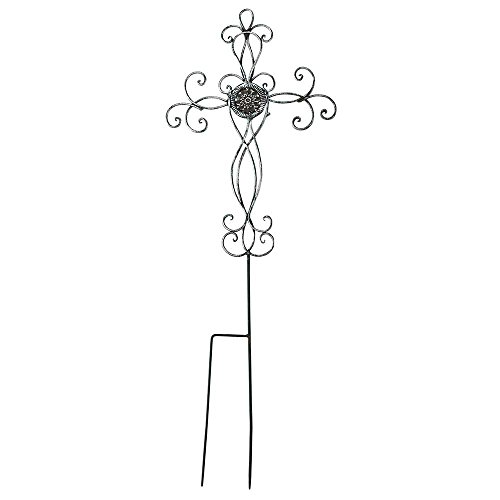 (Filigree Medallion Cross Metal 31.25 Inch Metal Outdoor Garden Stake)