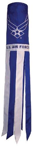 In the Breeze U.S. Air Force Wings 40 Inch Windsock - Military Service Hanging Decoration - Durable Embroidered Design (Airforce Party Decorations)