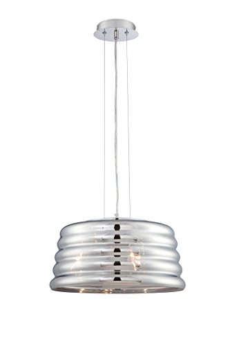 Lite Source Venice 3 Light Pendant, Chrome with Smoke Mirrored Glass