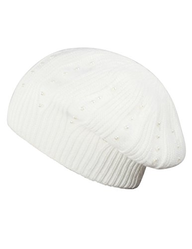 Dahlia Women's Pearl Accented Angora Blend Slouch Beanie Hat - Dual Layer White