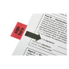 Skilcraft Sign Here Red Rectangular Flags - Self-adhesive Repositionable Reusable Removable - 1 X 1.75 - Sign Here - Red - 100 / Pack