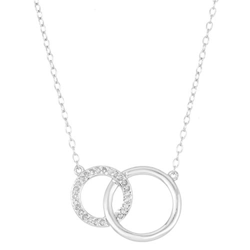 Lavari - .125 cttw Diamond Sterling Silver Interlocking Circles Necklace Pendant on an 18