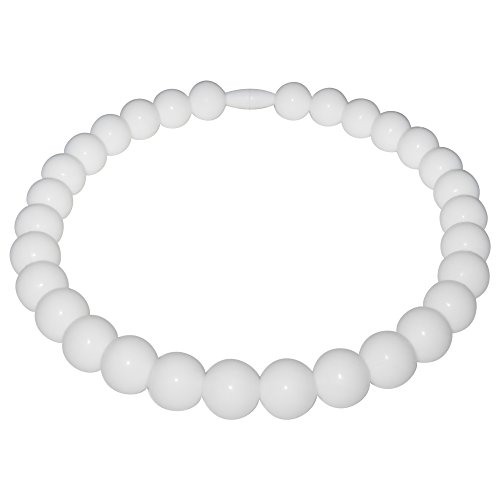 Pearl Baby Teething Necklace-Made With 100% Food Grade Silicone Teething Beads. Chewable Jewelry For Teething Babies & Children. (Silicone Pearl ()