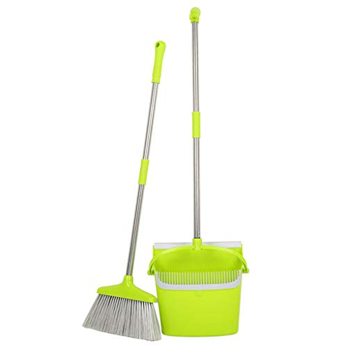 Orcbee  _Broom and Dustpan Set Vertical Brush and Dust Pot Combination Upright Cleaning -