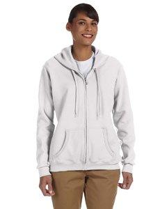 Gildan Womens Heavy Blend 8 oz. 50/50 Full-Zip Hood(G186FL)-White-M ()