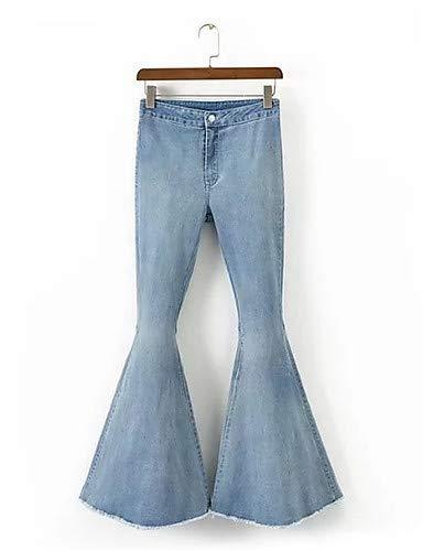 Couleur YFLTZ pour Light Unie Pantalon Blue Jeans Femme Street Chic qpSYAwq