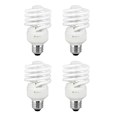 Compact Fluorescent Light Bulb T2 Spiral CFL, 4100k Cool White, 23W (100 Watt Equivalent), 1520 Lumens, E26 Medium Base, 120V, UL Listed (Pack of 4) ()