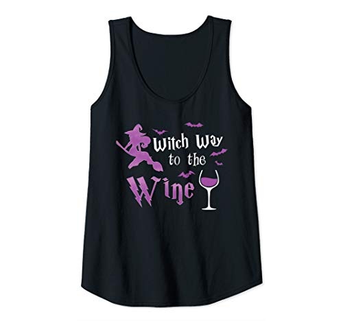 Womens Witch Way To The Wine Funny Halloween Drinking Costume Cute Tank Top ()