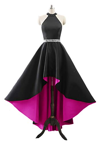 (Changuan Halter High Low Evening Party Dress Long Satin Homecoming Prom Formal Gowns Black/Hot Pink-16)