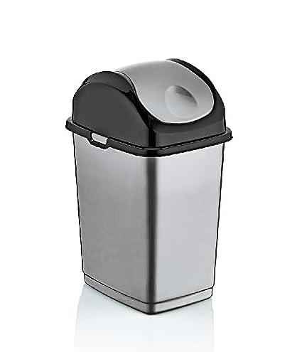 Amazoncom 26 Gallon Small Slim Trash Can Gray And Black Gray