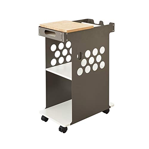 (Safco Products Mini Rolling Storage Cart 5209WH, Wood Top Worksurface, Mobile Storage Cart, Silver Steel Side Panels)