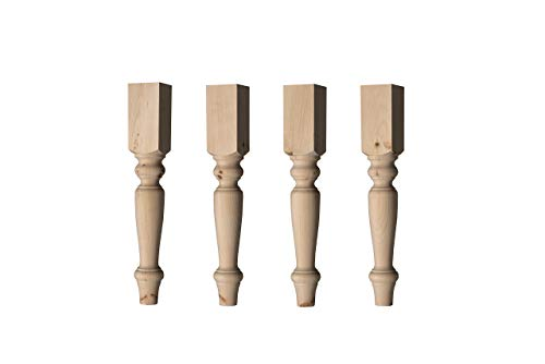 - English Country Dining Table Leg in Knotty Pine Wood (Set of 4)