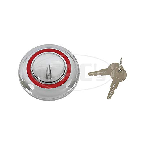 MACs Auto Parts 48-10413 Ford Pickup Truck Locking Gas Cap - Chrome With Red Border - For 1-1/2 Filler Neck