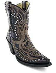 CORRAL Women's Distressed Overlay Studded Short Boot Snip Toe - G1074