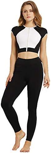 レディースジャージ上下セット 水分発散ヨガ服スポーツランニングスーツ女性黒と白のコントラストカラーヨガフィットネススーツ (サイズ : L)