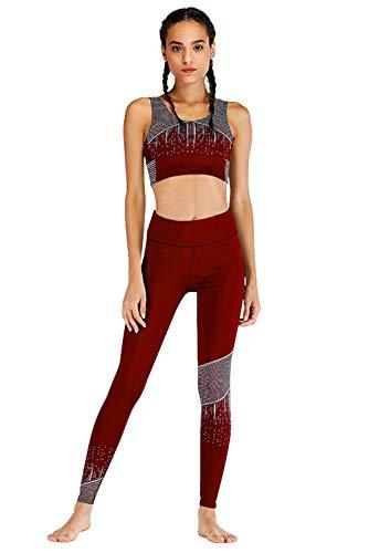 Gym Up Trousers 2pcs Et Tops Leggings Rouge Pantalon gorge Yoga Running Ensemble Femme Tenue Imprimé Tank 1899 Sport Push De Soutien Activewear Sportswear Survêtement Jogging qTZwpOqxr