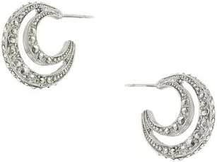 1928 Jewelry Stardust Silver-Tone Crescent Moon Earrings Silver One Size