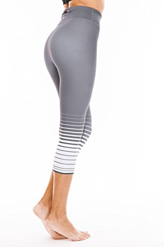 Platinum Stripe (Platinum Sun Women's Printed Grey Stripes Capris - L)