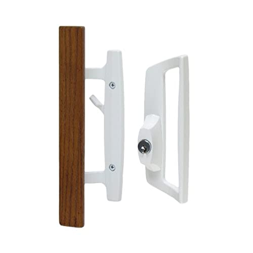 Pella door handle amazon bali nai sliding glass door handle and mortise lock set with oak wood pull in white finish includes key cylinder standard 3 1516 ctc screw holes planetlyrics Gallery