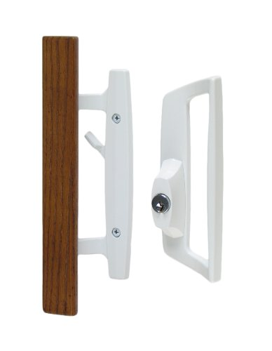 "Bali Nai Sliding Glass Door Handle Set with Oak Wood Pull in White Finish, Includes Key Cylinder, Standard 3-15/16"" CTC Screw Holes, 1-3/4"