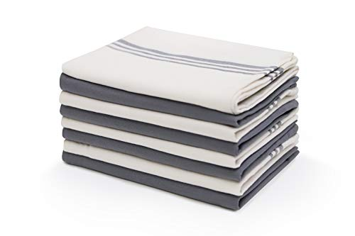 Harringdons Kitchen Dish Towels, Cotton Tea Towels with Pot Holder. Gray and White 4 of Each in Classic Plain Weave. Large, Absorbent Dish Cloths 28 x 20. Theres no Substitute for Quality.