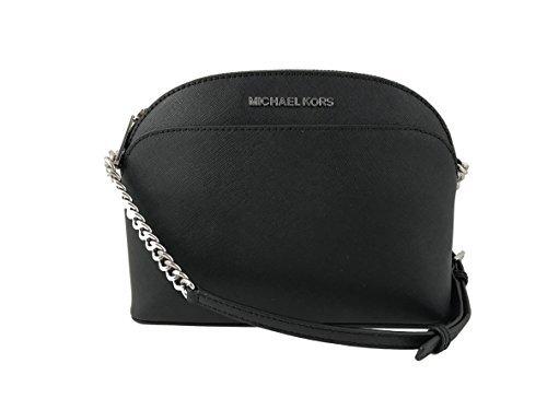Michael Kors Emmy Saffiano Leather Medium Crossbody Bag in Black