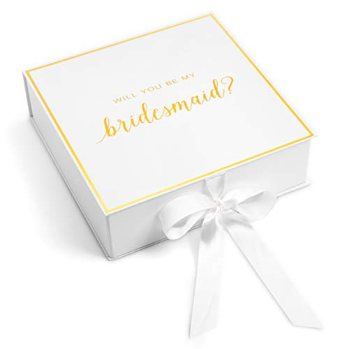 Bridesmaid Proposal Box with Gold Foiled Text | Set of 3 Empty Boxes | Perfect for Will You Be My Bridesmaid Gift and Wedding (White Bridesmaid, 3 Boxes) by Sunny Bride