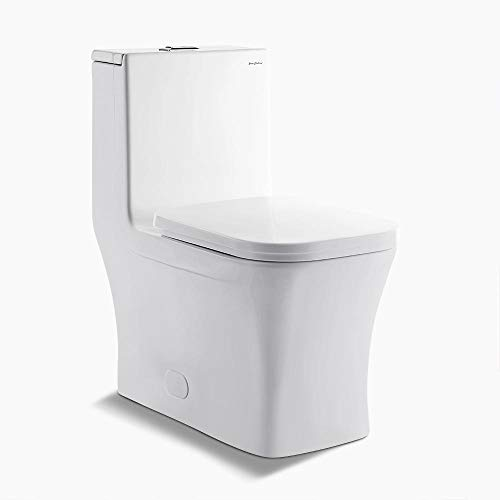 Swiss Madison SM-1T106 Concorde Square Toilet Dual Flush, Soft Closing Quick Release Seat Included, 0.8/1.28 Gpf