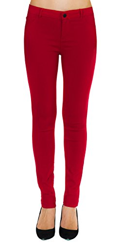 Women's Slim Fit Super Stretch Comfy Jeggings Skinny Pants With Real Back Pockets, Jean Look Red, Medium - Skinny Stretch Pants