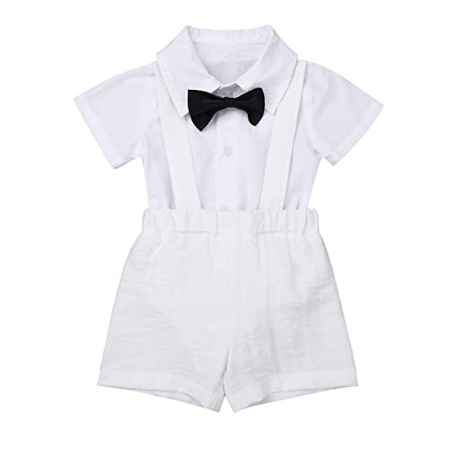 (MSemis Infant Baby Boys Baptism Christening Outfits Short Sleeves Lapel Romper with Bow Tie Suspender Linen Shorts Set White 12-18 Months)