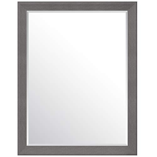 (Everly Hart Collection 36x48 Graywash Woodgrain Framed Beveled Wall or Leaner Mirrors, Gray )
