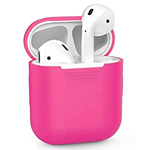 Airpods Case, AIKER Protective Thicken Airpods Cover Soft Silicone Chargeable Headphone Case for Apple Airpods Charging Case(Peach Red)