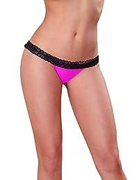 DreamGirl Women's Stretch Mesh Sexy Bikini Panty with Open Back Heart Detail