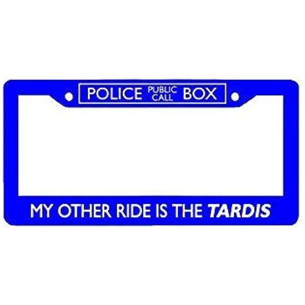6.25 x 12.25 Doctor Who License Plate Frame Bigger on The Inside Tardis Design
