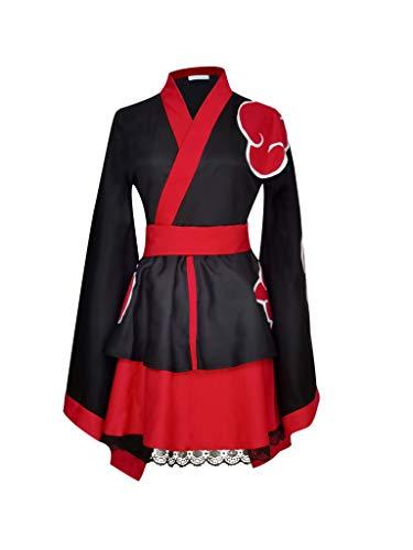 CLLMKL`COS Naruto Akatsuki Organization Lolita Kimono Dress Cosplay