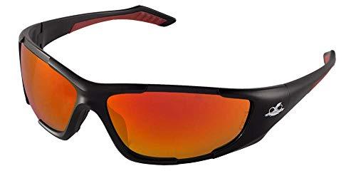 Bullhead Safety Eyewear BH12610 Javelin, Matte Black Frame, Full Red Mirror Lens, Black TPR Nose & Red Temple (1 Pair)
