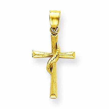 14 ct 585/1000 Or Dainty Flamme des Sacreen Spirt Croix Pendentif (Livre Avec un 45 cm Chaine)