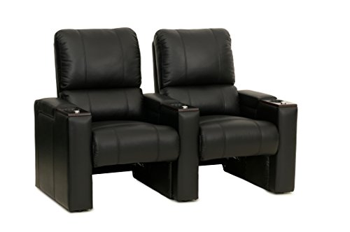 Octane Seating Axis ZR700 Home Cinema Rockers Black Bonded Leather - Accessory Dock - Straight Row of 2 Chairs ()