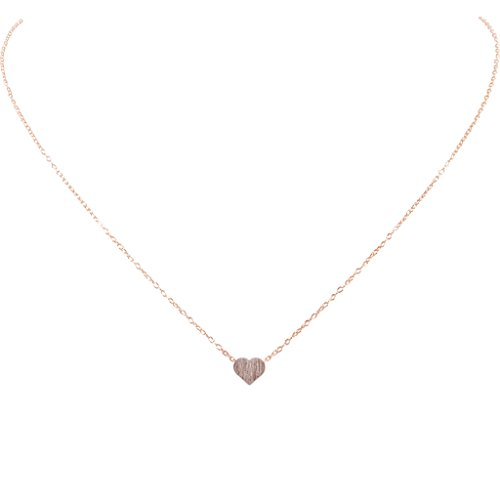 Necklace Heart (Humble Chic Tiny Heart Necklace - Delicate Dainty Pendant Chain Link Mini Charm, Rose Gold-Tone, Pin)