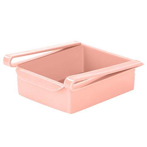 Fan-Ling Refrigerator Shelf Storage Rack Storage Box Food Container Kitchen Tools,Refrigerator Drawer Shelf Plate Layer,Refrigerator Classification Storage Basket (Pink)