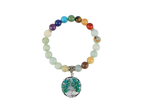 tones Stretch Bracelet, Yoga Meditation Round Beads with Tree of Life 7 Chakra Tumbled Gemstone Charm (green satin) (Satin Round Charm)