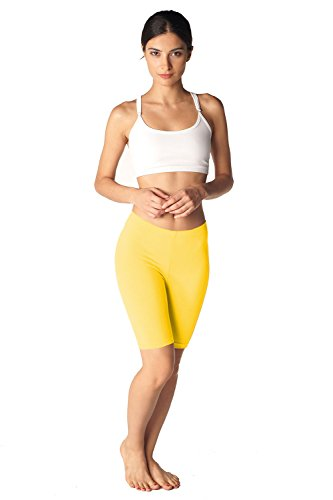 In Touch Womens Combed Cotton Basics 7 inch Bike Short by (Medium, Lemon) by In Touch