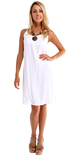 1 World Sarongs Womens Summer Sundress in White - Small