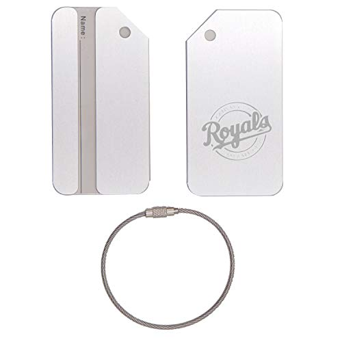 (MLB Kansas City Royals Logo 2 STAINLESS STEEL - ENGRAVED LUGGAGE TAG (METALLIC SILVER) - FOR ANY TYPE OF LUGGAGE, SUITCASES, GYM BAGS, BRIEFCASES, GOLF BAGS)