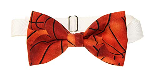 Mens Basketball Pre-Tied Cotton Bow Tie on Adjustable Twill Strap