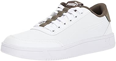 PUMA Men's Court Breaker L Sneaker, Puma White-olive Night