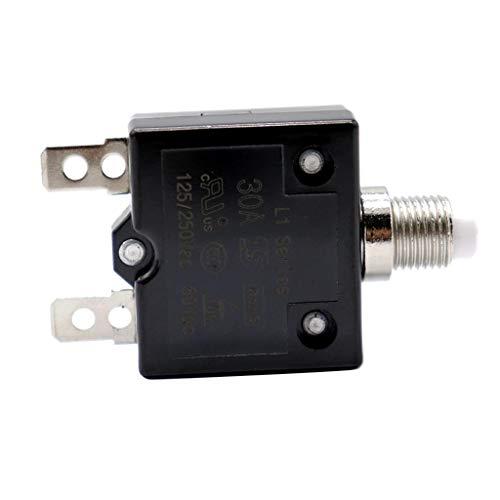 Flameer Push Button Circuit Breaker for 12V 24V 50V volts DC or 120V-240V AC - 30A ()