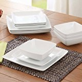 Better Homes and Gardens Coupe Square 12-Piece Dinnerware Set, White, dishwasher safe by Better Homes & Gardens (Coupe Square Plate Set)
