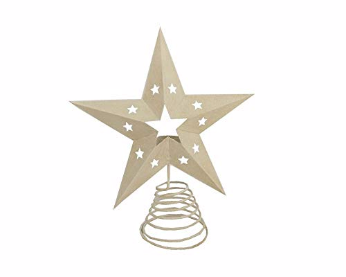 Craft Outlet Inc Craft Outlet 13'' Off White Tin Star Tree Topper W/Light Holder, Off